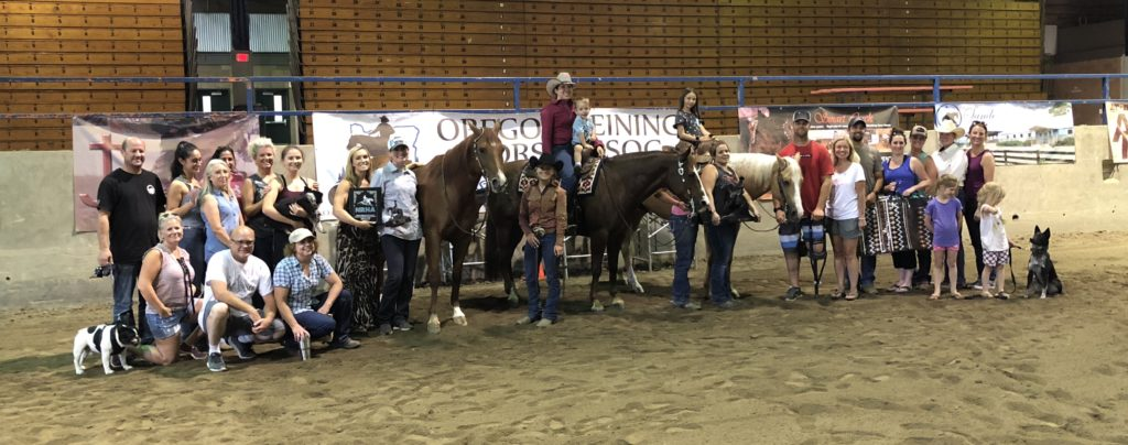 2018 ORHA Reining Classic Non Pro Derby Champion Jenna Kellmer with Magnanimous & Custom Spook Berry, Youth Derby Champion Madison Lillesve & Cookin In The Nude